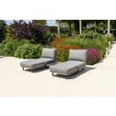 Alexander Rose Cordial Luxe Light Grey 2 Seat Mid Module with Ottoman Set