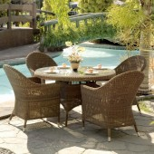 Alexander Rose San Marino 4 Seat Curved Top Armchair Dining Set with Round Table