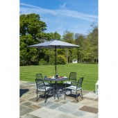 Alexander Rose Portofino 4 Seat Armchair Round Set with Parasol