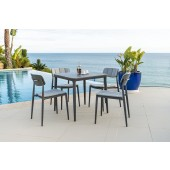 Alexander Rose Rimini Side Chair 4 Seat Square Dining Set