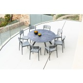 Alexander Rose Rimini Side Chair 8 Seat Round Dining Set