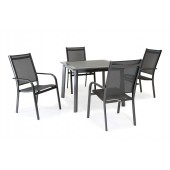 Kettler Surf 4 Seat Dining Set with Stacking Armchairs
