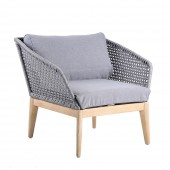 LG Outdoor Belize Rope and Eucalyptus Wood Lounge Chair