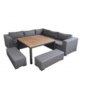 LG Outdoor Stockholm Corner Sofa Set with Dining Table